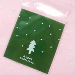 "Christmas Tree Gift Bags ""Merry Christmas"" (20 pcs / Green) Self Adhesive Resealable Plastic Handmade Gift Wrapping Bags (10cm x 11cm) GB023"