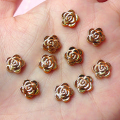 Tiny Rose Cabochon (Gold) (10pcs) Nail Art Nail Decoration Earrings Making Fake Miniature Cupcake Topper NAC063