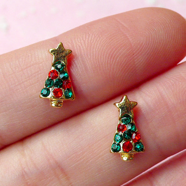 CLEARANCE Mini Christmas Tree Cabochon (2pcs) (Gold w/ Green and Red Rhinestones) Fake Miniature Cupcake Topper Earring Making Nail Art Deco NAC077