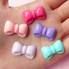 CLEARANCE Kawaii Bow Bowtie Cabochon Set (5pcs) (Pink Purple Blue) Kawaii Cabochon Cell phone Deco Decoden Supplies Kawaii Jewelry Scrapbooking CAB196
