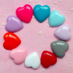 Colorful Heart Cabochon Set (10pcs) Kawaii Cabochon Cell phone Deco Decoden Supplies Kawaii Jewelry Scrapbooking CAB198