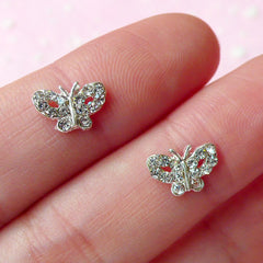 Mini Butterfly Cabochon (2pcs) (Silver w/ Clear Rhinestones) Fake Miniature Cupcake Topper Earring Making Nail Art Decoration NAC070