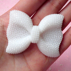BIG Bow Cabochon (White) with White Rhinestones 53mm x 41mm Kawaii Big Cabochon Cell phone Deco Decoden CAB199