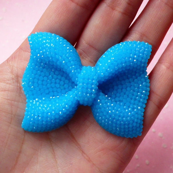 BIG Bow Cabochon (Blue) with Blue Rhinestones 53mm x 41mm Kawaii Big Cabochon Cell phone Deco Decoden CAB200