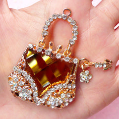Handbag Charm / Rhinestone Purse Cabochon / Lady Pouch Woman Fashion Cabochon (Gold / 37mm x 51mm) Bling Bling Cellphone Case Deco CAB207