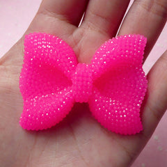 BIG Bow Cabochon (Dark Pink) with Dark Pink Rhinestones 53mm x 41mm Kawaii Big Cabochon Cell phone Deco Decoden CAB201