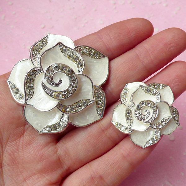 Rhinestone Rose Flower Cabochon / Alloy Metal Cabochon (2pcs / Marble White, Silver / 27mm & 42mm) Bling Floral Jewellery Making CAB204