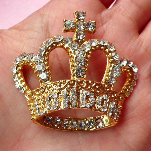 Gold Crown Metal Cabochon with Rhinestones / London Crown Cabochon (47mm x 43mm) Bling Bling Decoration Cellphone Deco Jewelry Making CAB206