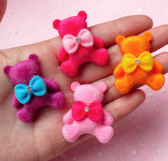 Bear Velvet / Plush Cabochon with Bow (29mm x 35mm / 4pcs / Colorful) Cell Phone Deco Scrapbooking Decoration Decoden Jewelry Making CAB208