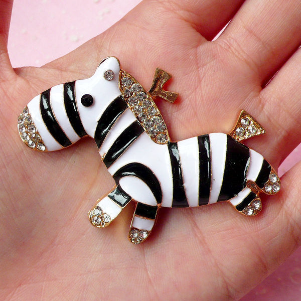 Zebra Metal Cabochon (Black & White) with Clear Rhinestones (53mm x 48mm) Cell Phone Deco Scrapbooking Decoration Decoden Supplies CAB210