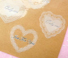 Clear Heart and Round Lace Sticker Set - Scrapbooking Packaging Party Gift Wrap Diary Deco Collage Home Decor S049