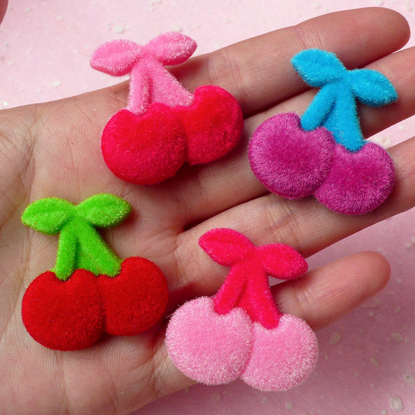 Cherry Velvet / Plush Cabochon (Colorful) (30mm x 31mm) Cell Phone Deco Scrapbooking Decoration Decoden Jewelry Making CAB209