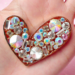 Heart Metal Cabochon (Gold Color) with Clear and AB Rhinestones (53mm x 47mm) Cell Phone Deco Scrapbooking Decoden Supplies CAB211