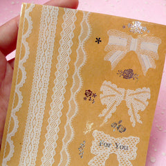 Clear Ribbon and Lace Sticker Set - Scrapbooking Packaging Party Gift Wrap Diary Deco Collage Home Decor S050