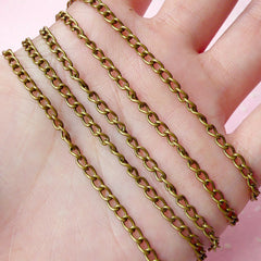 3mm Antique Bronzed Cable Chain (1 Meter / 3.2 Ft) F077