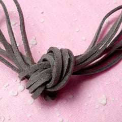 Faux Leather Strip / Leather Strap / Leather Strings / Suede Leather Cord / Suede Cord (3mm / 2 Meters / Grey / Gray) Necklace Bracelet F084
