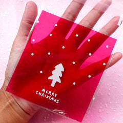 "Christmas Tree Gift Bags ""Merry Christmas"" (20 pcs / Red) Self Adhesive Resealable Plastic Handmade Gift Wrapping Bags (10cm x 11cm) GB028"