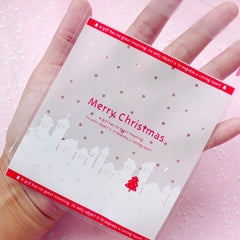CLEARANCE Merry Christmas Gift Bags (20 pcs) Self Adhesive Resealable Plastic Handmade Gift Wrapping Bags (10cm x 10.8cm) GB030