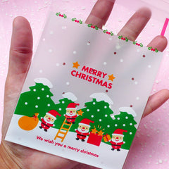 Christmas Tree & Santa Claus Christmas Gift Bags (20 pcs) Self Adhesive Resealable Plastic Handmade Gift Wrapping Bags (10cm x 11cm) GB029