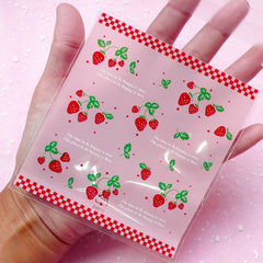 Pink Strawberry Pattern Gift Bags (20 pcs) Kawaii Self Adhesive Resealable Clear Plastic Gift Wrapping Bags (9.9cm x 10.9cm) GB031