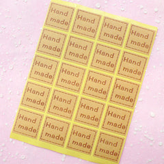 CLEARANCE Handmade Sticker Set (Square / 20pcs) Kraft Paper Seal Sticker - Scrapbooking Packaging Party Gift Wrap Diary Deco Collage Home Decor S052