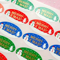 CLEARANCE Merry Christmas & Snowman Sticker Set (24pcs) Seal Sticker - Scrapbooking Packaging Party Gift Wrap Deco Collage Home Decor S058