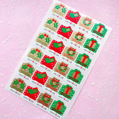 Merry Xmas Sticker Set (Red Green Gold / 24pcs) Christmas Seal Sticker - Scrapbooking Packaging Party Gift Wrap Deco Collage Home Decor S059