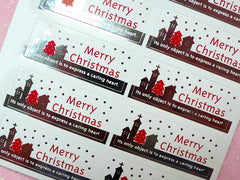 Merry Christmas Sticker Set (Silver & Red / 10pcs) Seal Sticker - Scrapbooking Packaging Party Gift Wrap Deco Collage Home Decor S062