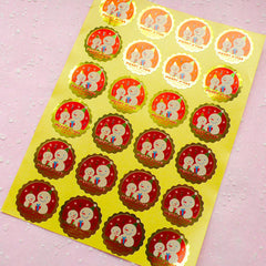 Merry Christmas Snowman Sticker Set (Gold & Red / 24pcs) Seal Sticker - Scrapbooking Packaging Party Gift Wrap Deco Collage Home Decor S067