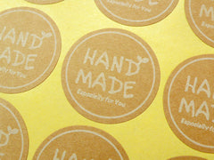 Handmade Sticker Set (Round) (2 Sets / 24pcs) Kraft Paper Seal Sticker Scrapbooking Packaging Party Gift Wrap Diary Collage Home Decor S053