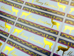 Reindeer & Merry Christmas Sticker Set (Gold / 24pcs) Seal Sticker - Scrapbooking Packaging Party Gift Wrap Deco Collage Home Decor S063