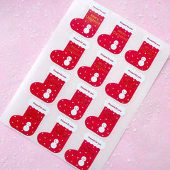 CLEARANCE Merry Christmas Stocking Sticker (Red & Gold / 12pcs) Seal Sticker - Scrapbooking Packaging Party Gift Wrap Deco Collage Home Decor S066