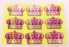 Crown / Cupcake Sticker Set (Gold & Red / 9pcs) Seal Sticker - Scrapbooking Packaging Party Gift Wrap Diary Deco Collage Home Decor S097