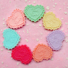 "Cake Doilies in Heart Shaped ""Tea Party"" Cabochon (Pastel Color / 28mm / 7pcs) Dollhouse Charms Cell Phone Deco Decoden Scrapbooking CAB218"