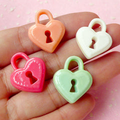 Key Lock Cabochon Mix Assorted Cabochon Set (23mm / Pastel Color / 4pcs) Jewelry Charms Making Cell Phone Deco Decoden Scrapbooking CAB220