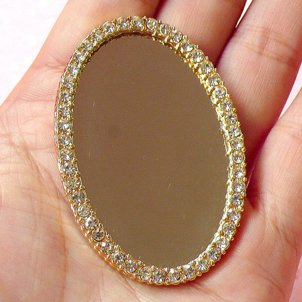 Rhinestone Mirror Metal Cabochon in Deluxe Style / Miniature Doll Mirror (Oval / 37mm x 55mm) Bling Bling Phone Case Decoden Piece CAB224