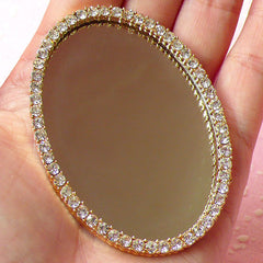 Large Mirror Cabochon w/ Bling Bling Rhinestones / Luxury Doll House Mirror (Oval / 47mm x 67mm) Sweet Lolita Decoden Cell Phone Deco CAB225