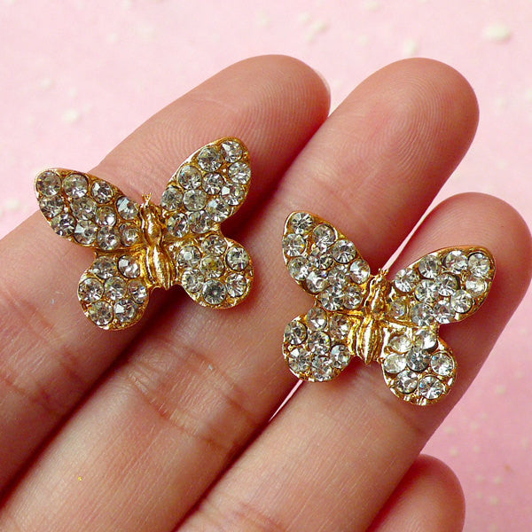Butterfly Cabochon / Rhinestone Alloy Metal Cabochon (2pcs / 20mm x 16mm / Gold) Spring Insect Embellishment Wedding Party Decoration CAB227