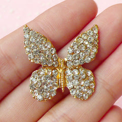 Bling Bling Butterfly / Rhinestone Metal Cabochon (26mm x 26mm / Gold) Insect Brooch Wedding Jewelry Making Cell Phone Decoden Supply CAB229