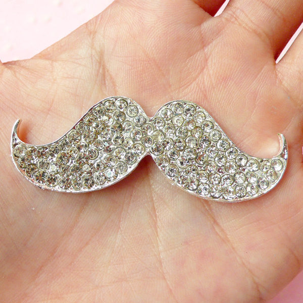 Bling Mustache Cabochon / Large Moustache Metal Cabochon (55mm x 20mm / Silver with Clear Rhinestones / Flatback) Whimsy Jewellery CAB231