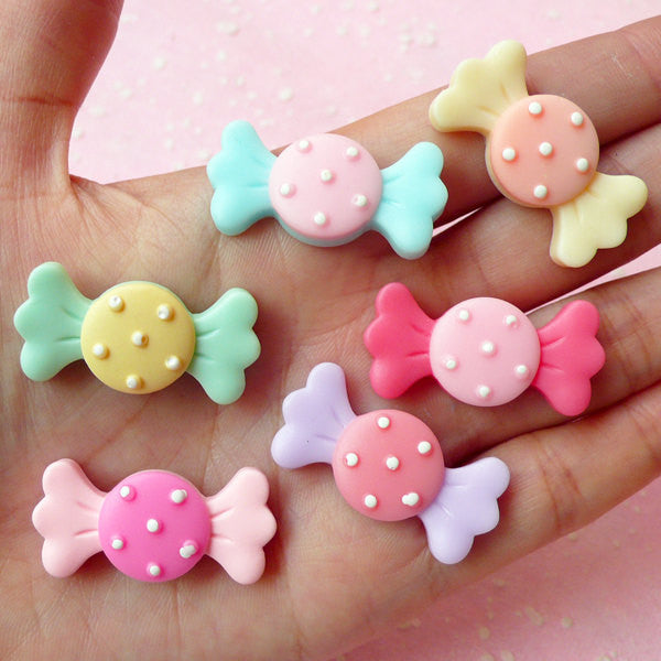 Resin Candy Cabochons / Bow Tie Bowtie Taffy Candy (6pcs / 32mm x 15mm / Assorted Pastel Color) Kawaii Decoden Sweets Deco Fairy Kei FCAB078