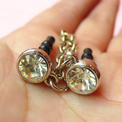Cell Phone Dust Plug with Chain & Rhinstones (w/ Hole / 2pcs / Clear, Silver) Ear Phone Jack Plug / Earphone Plug / iPhone Charm Plug EJ40