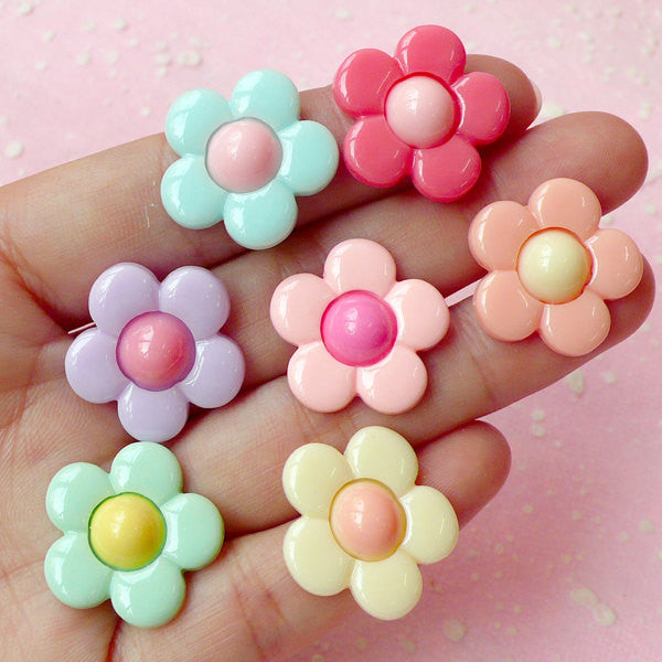 Daisy Flower Cabochon (Assorted Pastel Color / 21mm / 7pcs) Decora Jewelry Earrings Making Fairy Kei Cell Phone Decoden CAB215