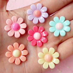 Daisy Flower Cabochon Set Assorted Flower Mix (Pastel Color / 21mm / 6pcs) Jewelry Earrings Making Cell Phone Decoden Scrapbooking CAB216