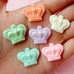 Crown Cabochon Mix (6 pcs / 21mm x 17mm / Assorted Pastel Color / Flat Back) Decora Cell Phone Deco Kawaii Fairy Kei Hair Jewelry CAB217