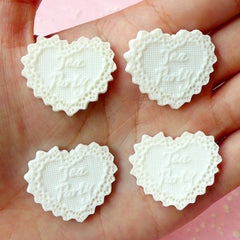 "Cake Doilies in Heart Shaped ""Tea Party"" Cabochon (White / 28mm / 4pcs) Dollhouse Charms Cell Phone Deco Decoden Scrapbooking CAB219"