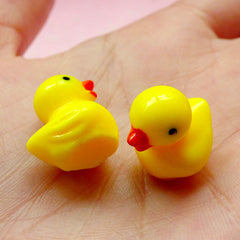 3D Rubber Duck Cabochon (17mm / Yellow / 2pcs) Cute Animal Kawaii Jewelry Charms Earrings Making Cell Phone Deco Decoden Scrapbooking CAB221