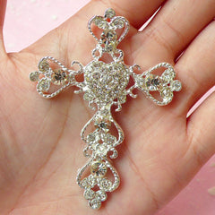 Silver Cross Cabochon / Rhinestones Metal Cabochon / Bling Bling Heart Cross (Silver / 49mm x 66mm) Religious Jewelry Mixed Media CAB230