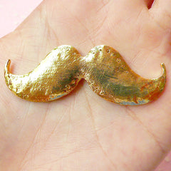 Moustache Cabochon / Big Mustache Alloy Metal Cabochon (56mm x 20mm / Gold with Clear Rhinestones / Flat Back) Bling Decoden Piece CAB232