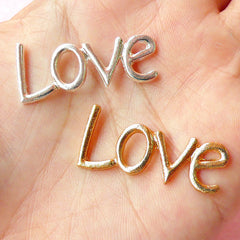 Love Metal Cabochon (Silver & Gold) (33mm x 15mm) (2pcs) Kawaii Decoden Bracelet Pendant Jewelry Making Scrapbooking CAB234